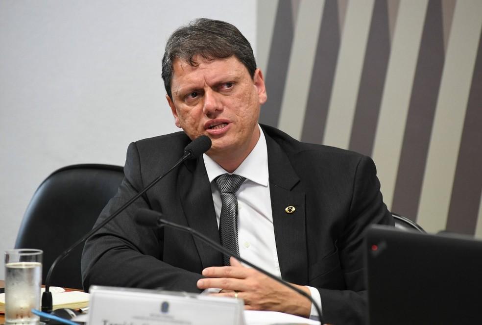 Ministro Tarcísio Freitas (Infraestrutura), durante audiência no Senado — Foto: Jefferson Rudy/Agência Senado