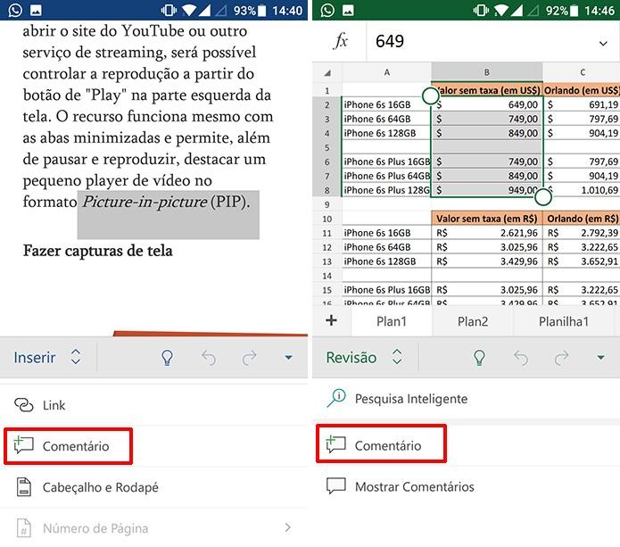 Toque para inserir comentários no Word e Excel para Android (Foto: Reprodução/Elson de Souza)
