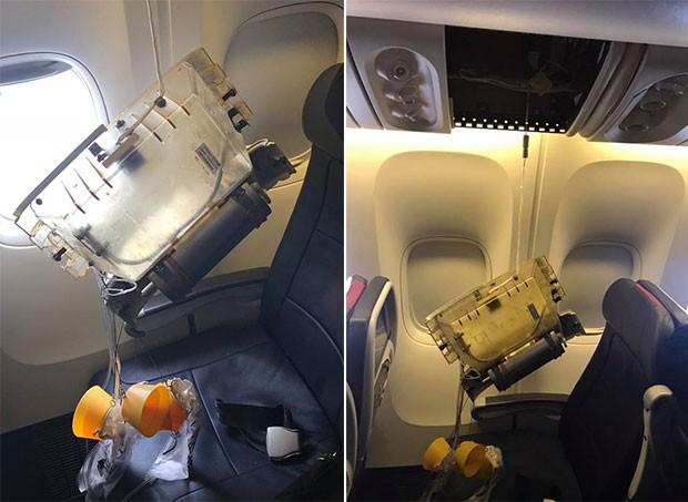 Jennifer Zanone postou as fotos do cilindro que caiu na cabeça do filho de 1 ano enquanto eles estavam em um avião da American Airlines no último fim de semana (Foto: Reprodução/ Facebook)