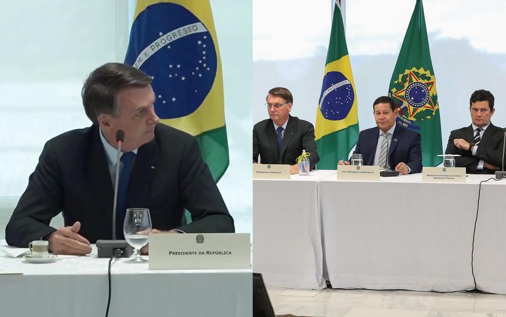 Bolsonaro em trecho de vídeo da reunião ministerial olha em direção à Moro; à direita, a posição do ministro em relação ao presidente — Foto: Reprodução e Marcos Corrêa/PR