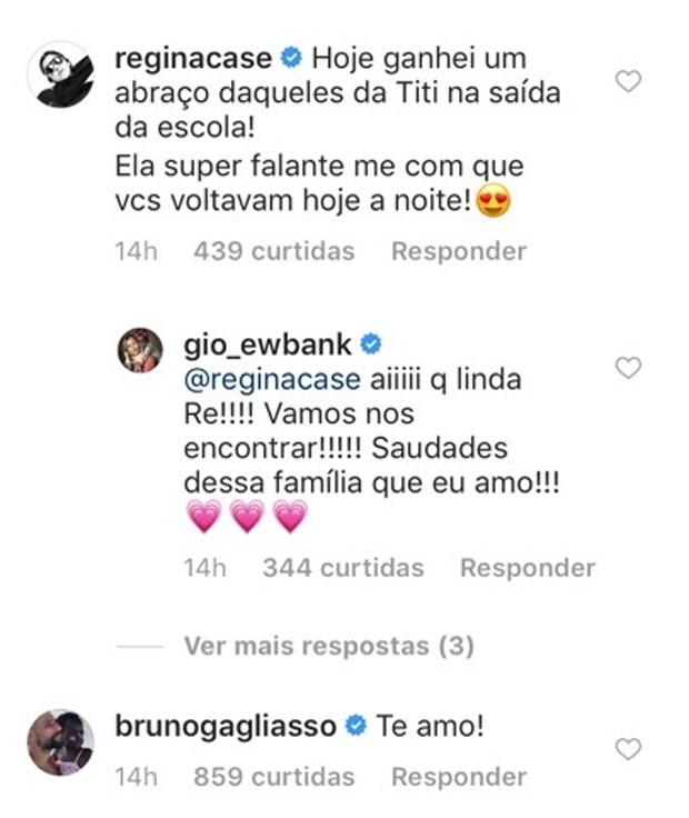 Comentário de Regina Casé no Instagram de Giovanna Ewbank (Foto: Reprodução/Instagram)