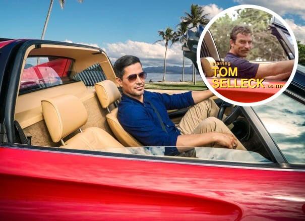 Jay Hernandez e Tom Selleck nas duas versões de Magnum (Foto: Divulgação)