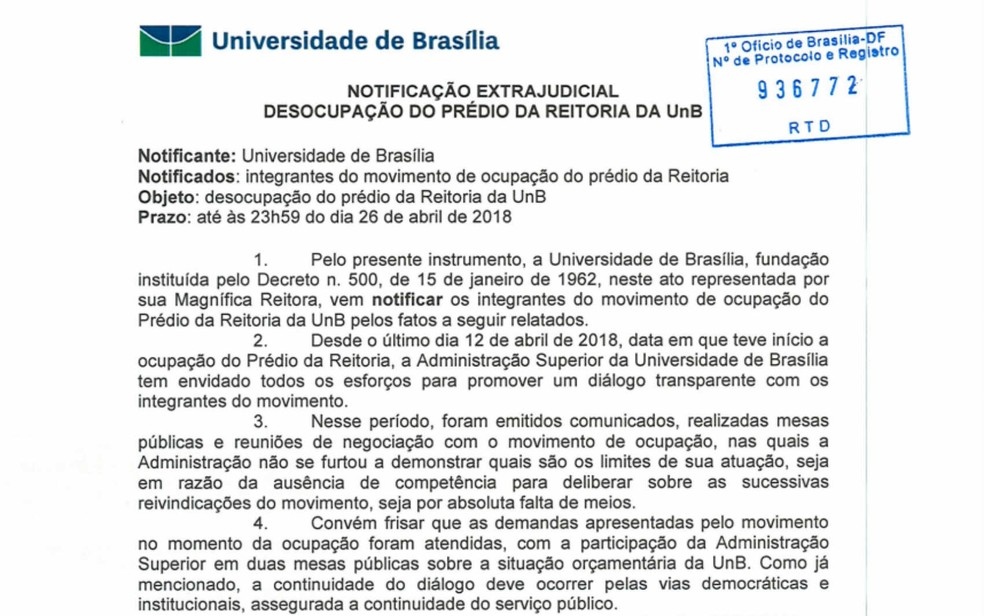 Trecho da notificação extrajudicial entregue pela UnB aos ocupantes da reitoria (Foto: UnB/Reprodução)