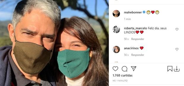 William Bonner e a mulher, Natasha Dantas (Foto: Reprodução/Instagram)