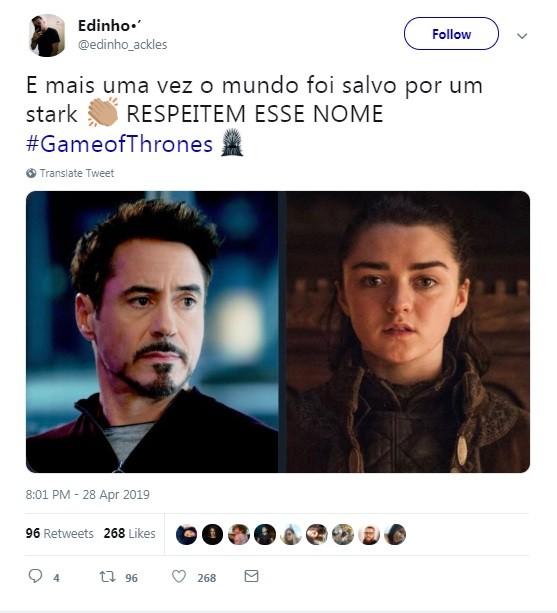 Internauta comenta episódio de 'Game of thrones' (Foto: Reprodução / Twitter)