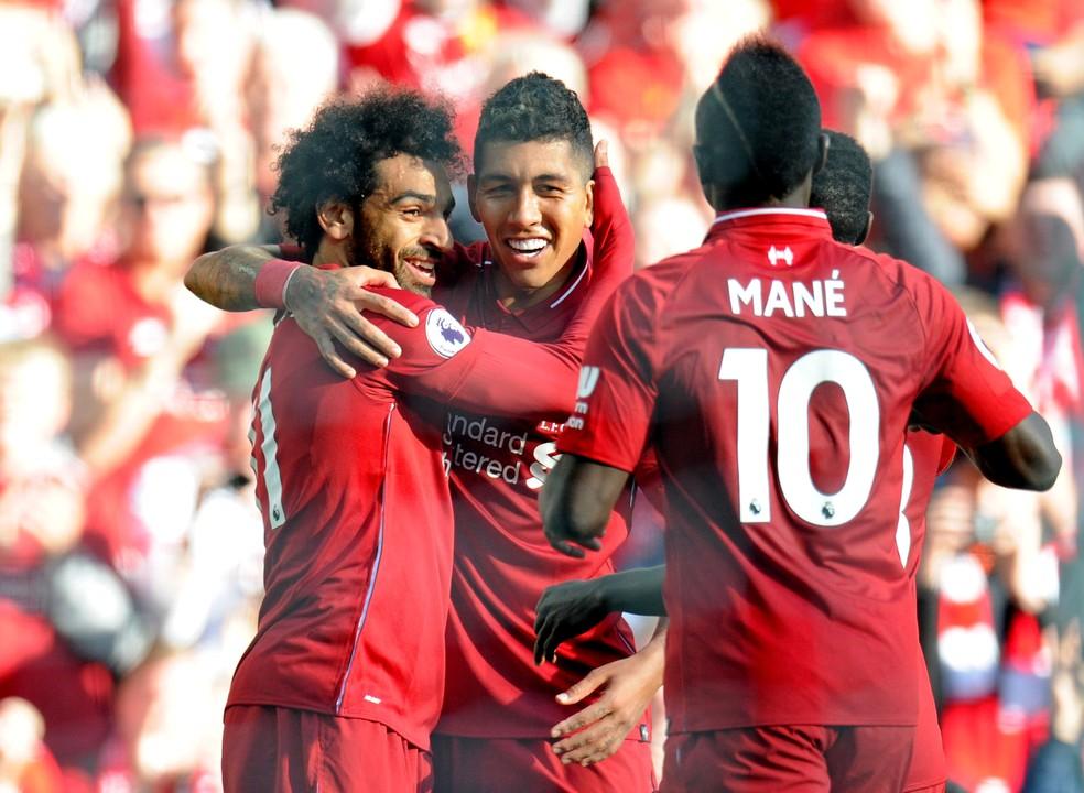 Trio com Mané e Salah impulsinonou Firmino no Liverpool — Foto: REUTERS