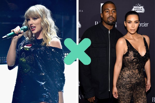 Taylor Swift X Kanye West e Kim Kardashian (Foto: Getty Images)