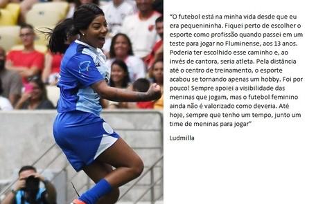 A cantora Ludmilla tem uma relação antiga com o futebol Alexandre Durão/ ge.com