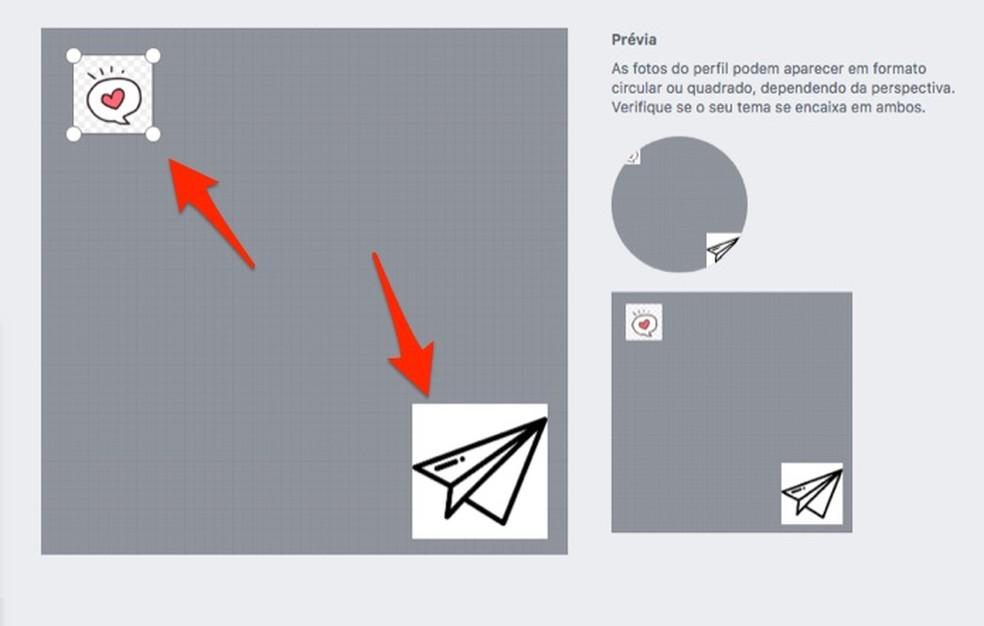 Ação para posicionar ícones para criar um tema para o Facebook — Foto: Reprodução/Marvin Costa