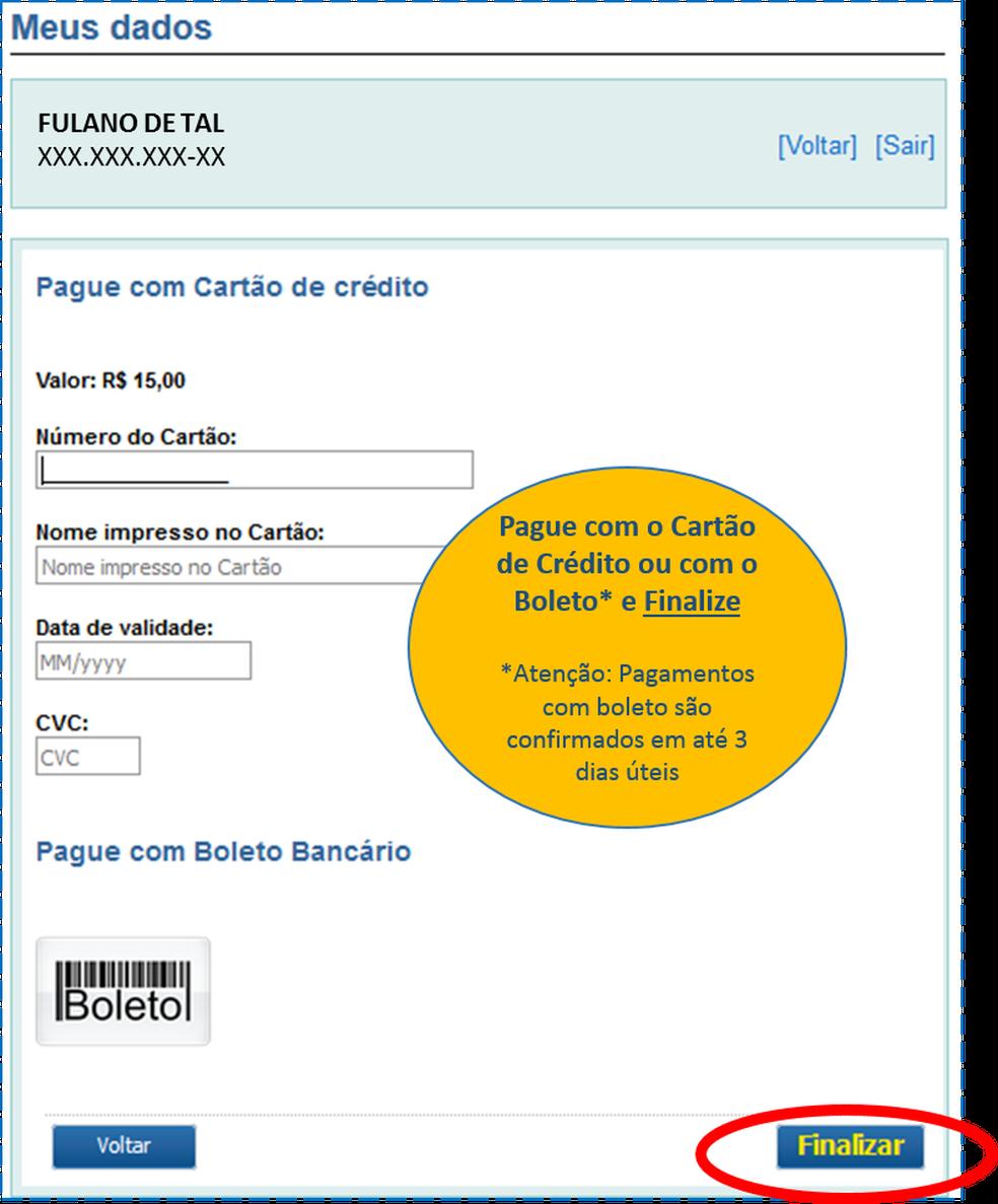 """Tela de pagamento do """"despacho postal"""" dos Correios (Foto: Reprodução)"""