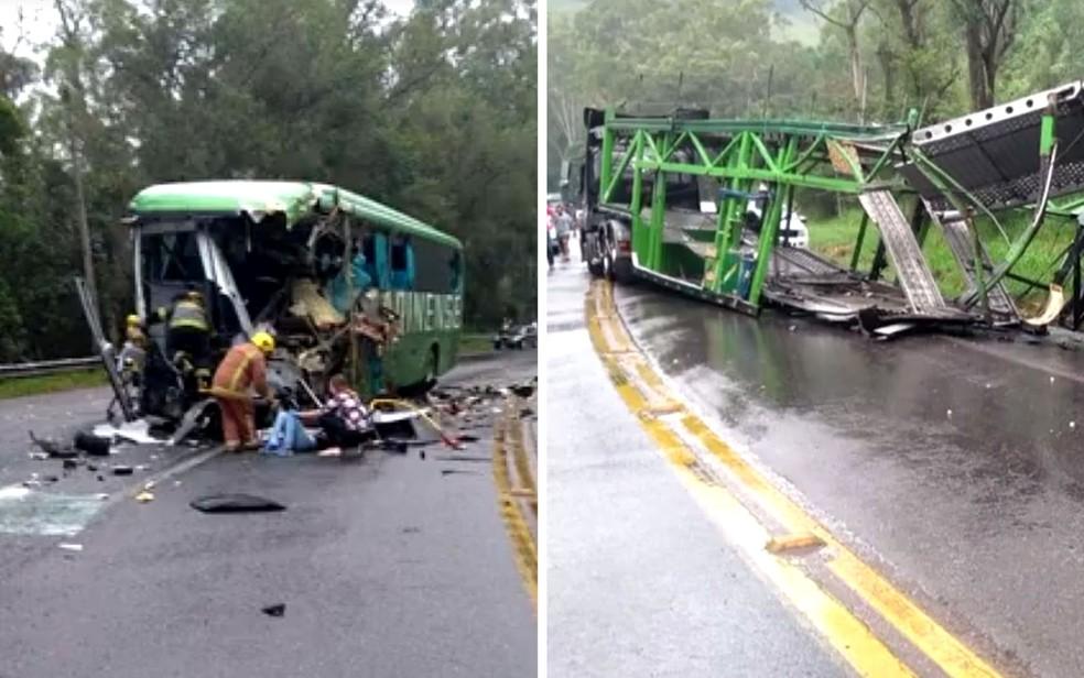 Carreta e ônibus se chocaram na serra em Ibirama  â?? Foto: Montagem/G1