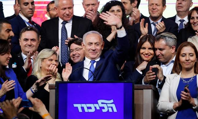 Primeiro-ministro israelense, Benjamin Netanyahu celebra resultado eleitoral em Jerusalém