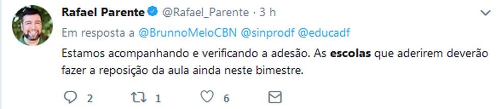 Tweet do secretário de Educação do DF, Rafael Parente, sobre paralisação em escolas — Foto: Twitter/Reprodução