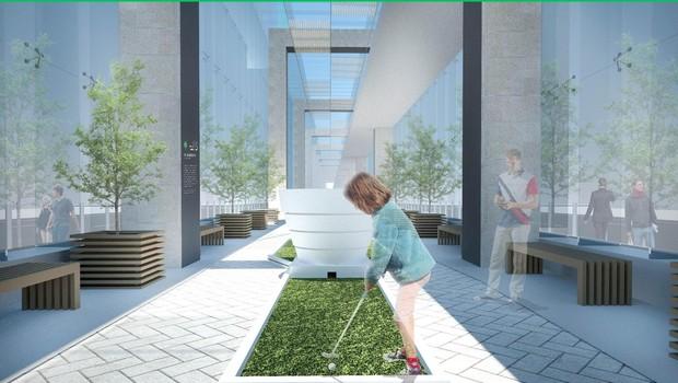 O projeto de Michelle Schrank idealiza uma área de convivência para praticar minigolf  (Foto: Divulgação/Michelle Schrank/Fisher Brothers)