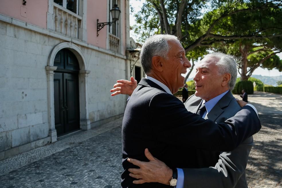 Em Lisboa, Temer se encontra com o presidente de Portugal, Marcelo Rebelo de Sousa (Foto: Beto Barata/PR)
