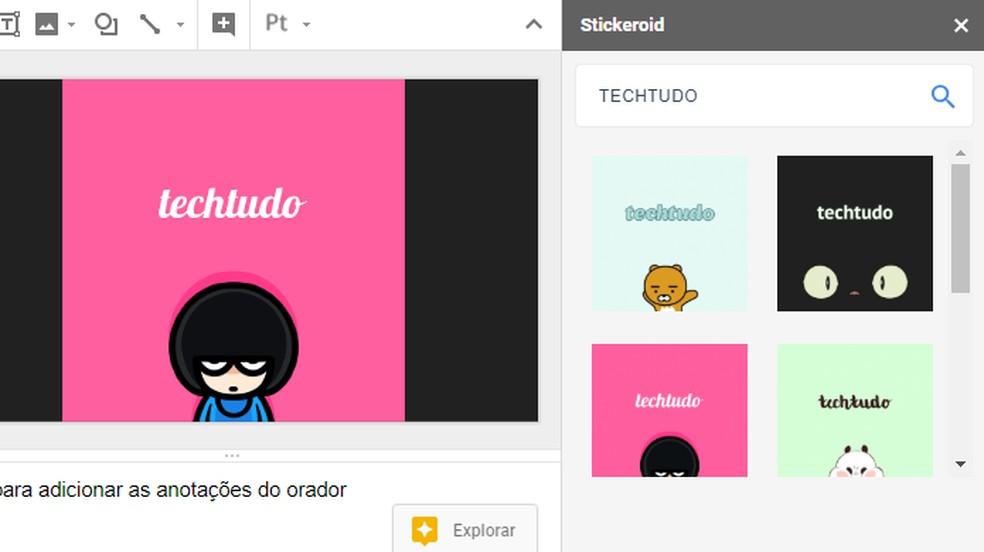 Stickeroid tem acervo de imagens para usar em apresentações — Foto: Reprodução/Paulo Alves