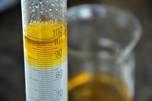 Teste da proveta para gasolina durante fiscalização do Procon (Foto: Procon)