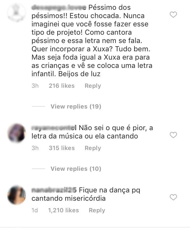 Internautas criticam música de Lorena Improta (Foto: Reprodução / Instagram)