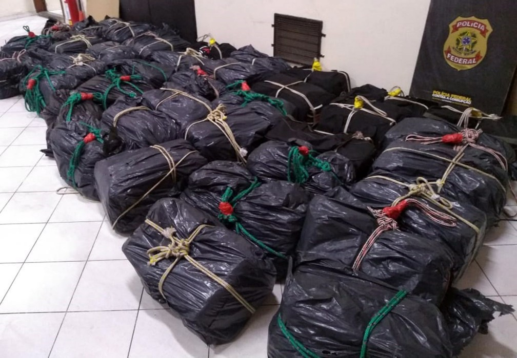 Criminosos içaram 41 bolsas pretas tabletes de cocaína ao navio 'Grande Francia' na Barra de Santos, SP (Foto: G1 Santos)