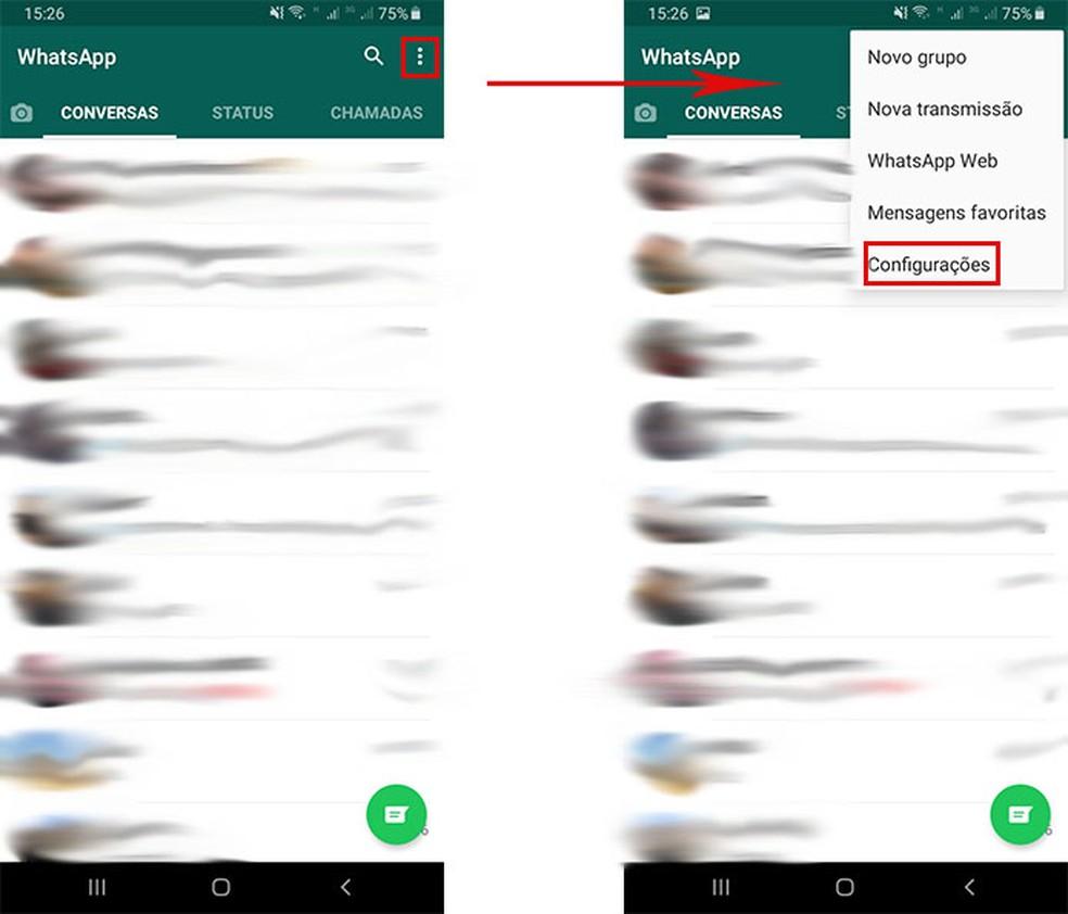 Acesse as configurações do WhatsApp — Foto: Reprodução/Fernanda Lutfi