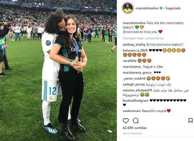 O jogador Marcelo e Clarice Alves (Foto: Reprodução/Instagram)