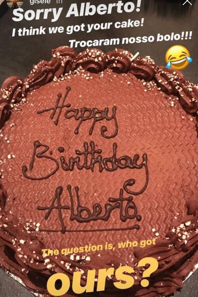 Gisele recebe o bolo errado (Foto: Reprodução)