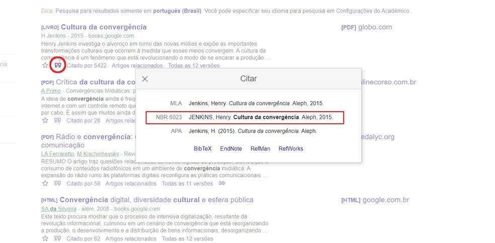 Google Acadêmico organiza as referências nas normas da ABNT — Foto: Reprodução/Ana Letícia Loubak