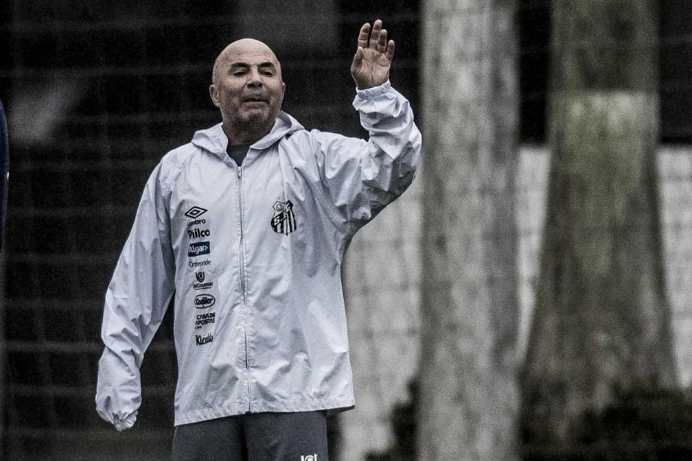Sampaoli em treino do Santos — Foto: Ivan Storti/Santos FC