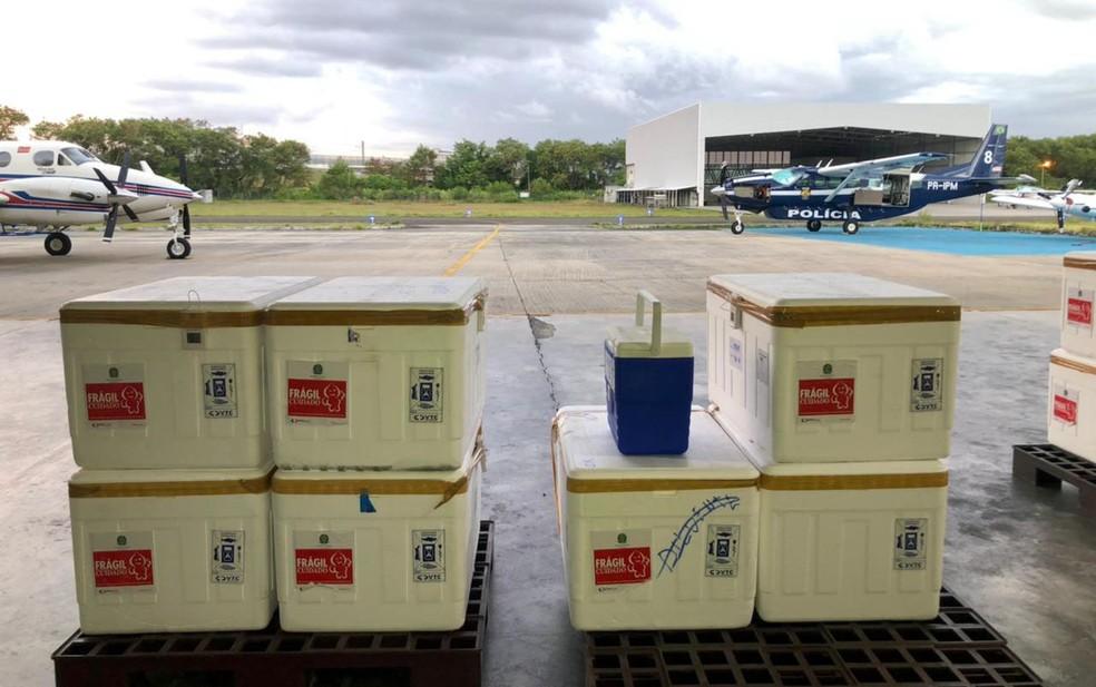 Remessa é de mais de 165,6 mil doses de vacinas produzidas pelo Butantan — Foto: Divulgação/Governo da Bahia