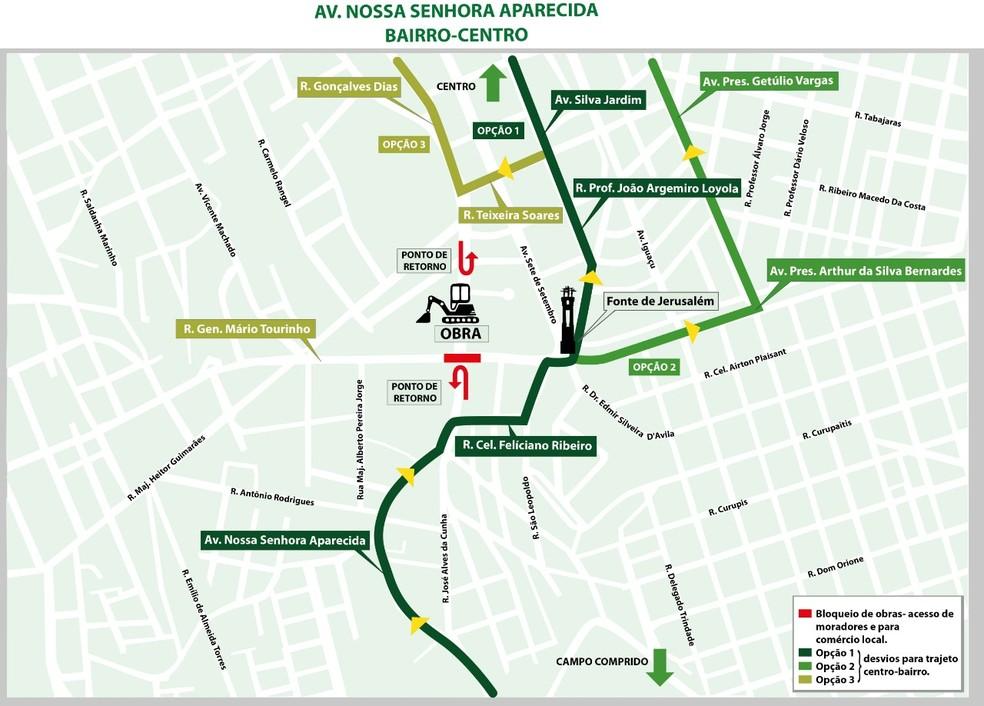 A Secretaria Municipal de Trânsito fará a sinalização na região da obra — Foto: Prefeitura de Curitiba