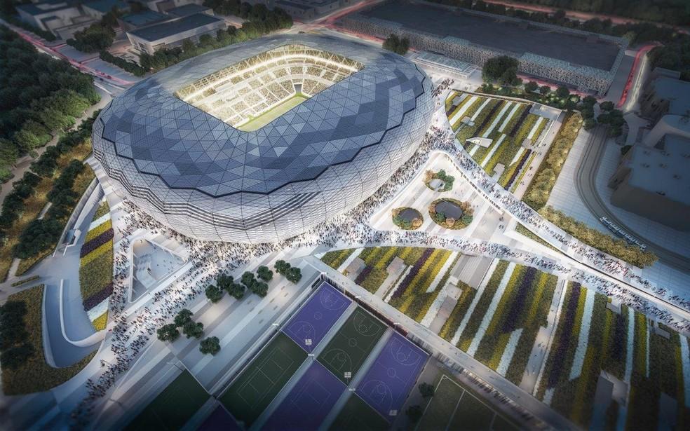 Education City Stadium, em Doha: Liverpool não joga mais aqui — Foto: Reprodução