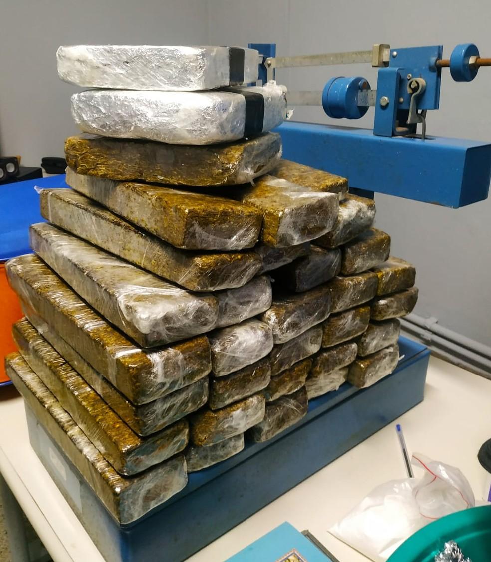 Pouco mais de 25 quilos de maconha foram apreendidos na casa de Rafael Lusvarghi — Foto: Polícia Militar