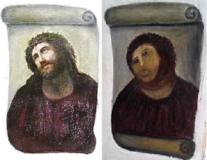 O antes e depois de 'Ecce Homo' (Foto: Wikimedia Commons)