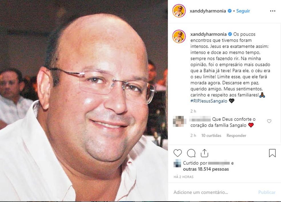 """Cantor Xanddy disse que Jesus """"foi o empresário mais ousado que a Bahia já teve"""" — Foto: Reprodução/Instagram"""
