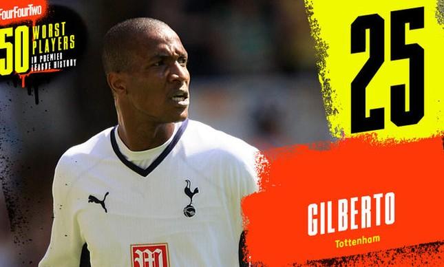 Gilberto, o 25º pior jogador da Premier League segundo a revista FourFourTwo