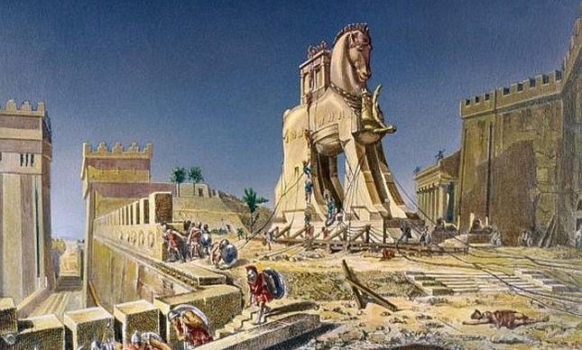 É preciso ter cuidado quando gregos trazem presentes, pintura de Henri-Paul Motte (Foto: Wikimedia Commons / Domínio público)