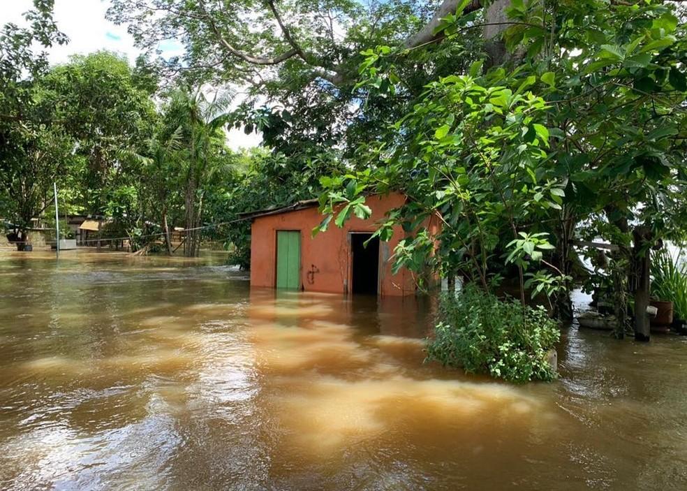 Cheias do rio Uraricoera — Foto: Bombeiros/Defesa Civil/Divulgação
