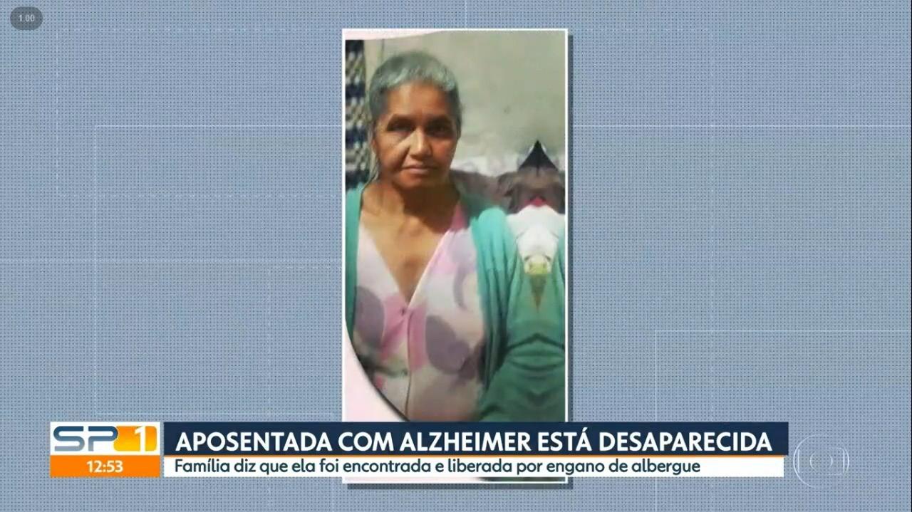 Aposentada com Alzheimer desaparece no ABC paulista, é vista no Centro de SP e some de novo