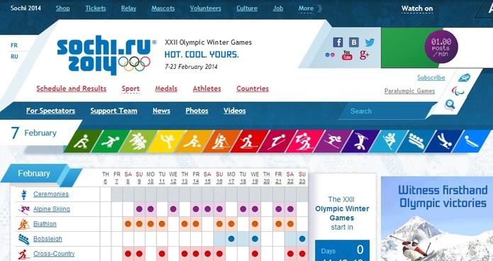 Site oficial das Olimpíadas de Sochi com cores do Doodle do Google (Foto: Reprodução/COI)