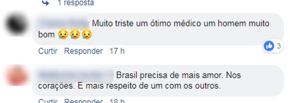 Internautas lamentam o atentado contra o médico Gladson Siqueira, em Porto Velho  — Foto: Reprodução/ Redes Sociais