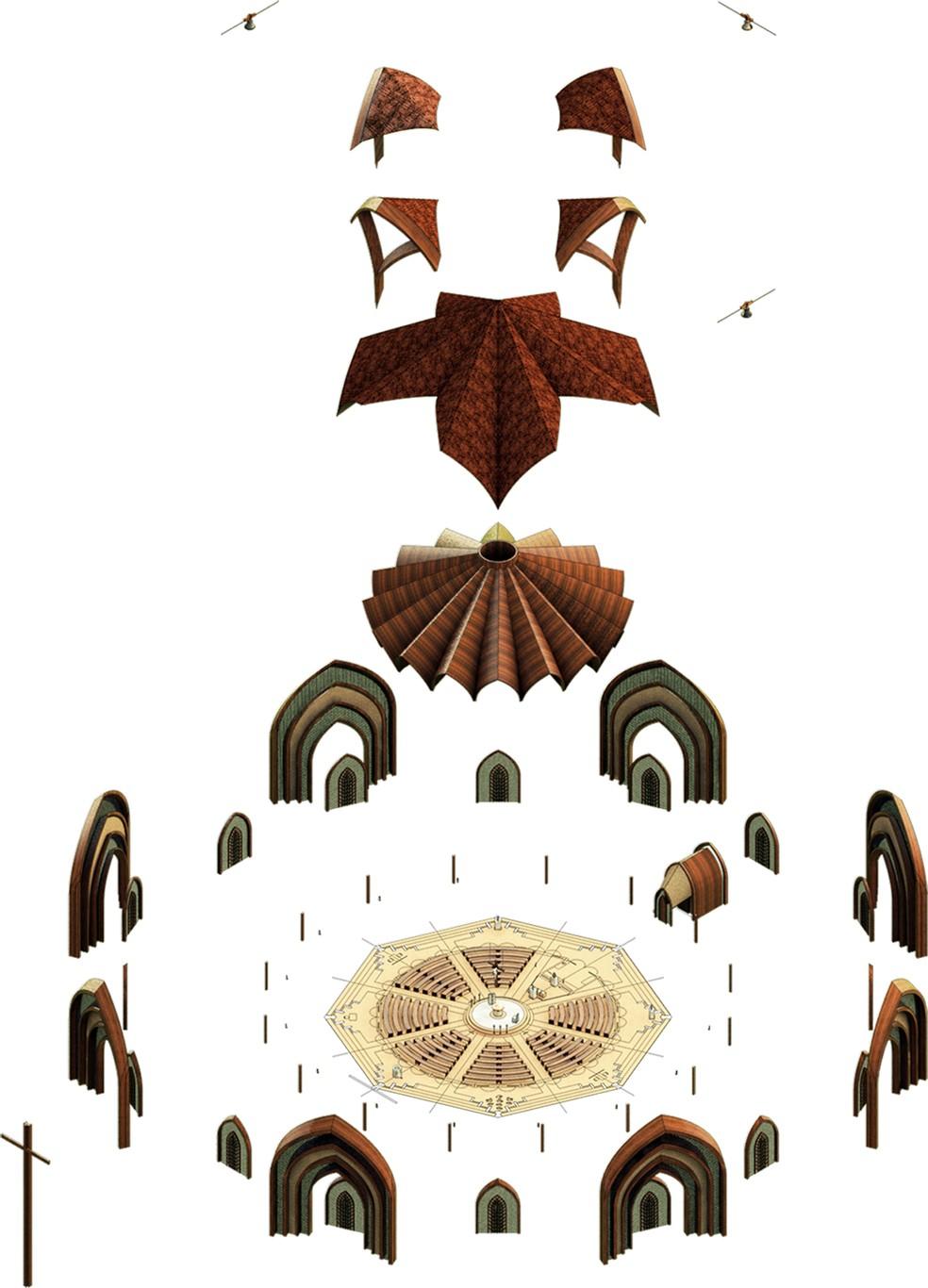 Igreja terá capacidade para cerca de 500 pessoas, com 875,49 m² e oito lados — Foto: Divulgação/Creatos Arquitetura