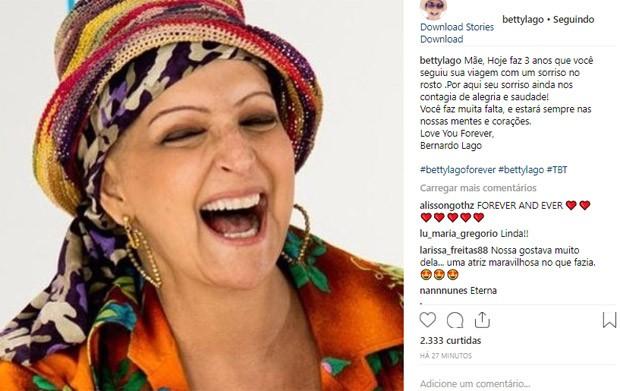 Filho de Betty Lago faz post nos três anos de morte da mãe (Foto: Reprodução/Instagram)