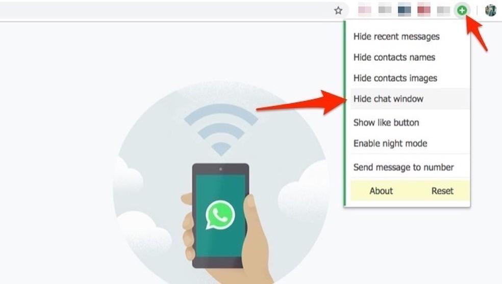 Ação para bloquer chats do WhatsApp Web com a extensão WA Web Plus para Chrome — Foto: Reprodução/Marvin Costa