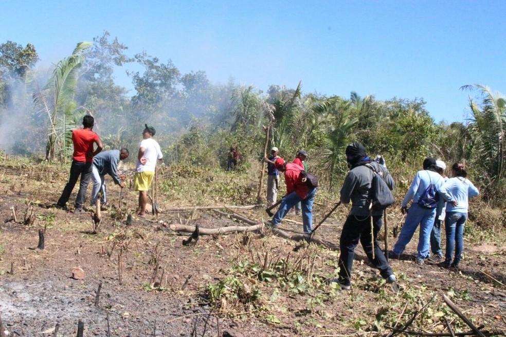 Agricultores costumam usar fogo para limpeza de terreno em áreas como a de assentamento.  — Foto: Catarina Costa/G1