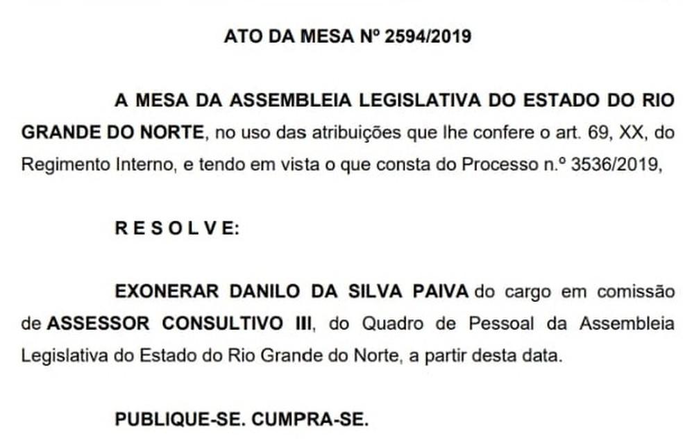 Danilo da Silva Paiva foi exonerado da Assembleia Legislativa do RN nesta terça (29) — Foto: Reprodução