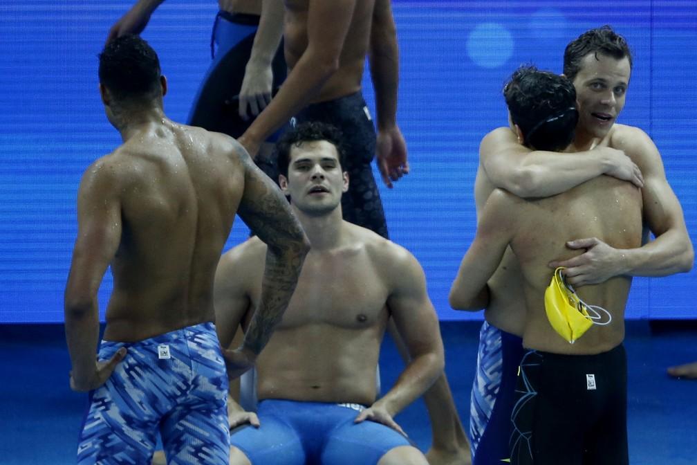 Mundial de Hangzhou em piscina curta - Revezamento 4x100m masculino Cesar Cielo, Marcelo Chierighini, Matheus Santana e Breno Correia — Foto: Satiro Sodré / SSPress / CBDA