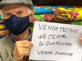 Aos 91, homem pede ajuda para vender tecidos em loja em SP (Reprodução Instagram)