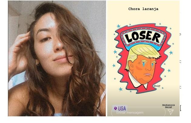 Ana Hikari, de 'As Five', compartilhou uma caricatura de Donald Trump e escreveu: 'Chora, laranja' (Foto: Reprodução/Instagram)