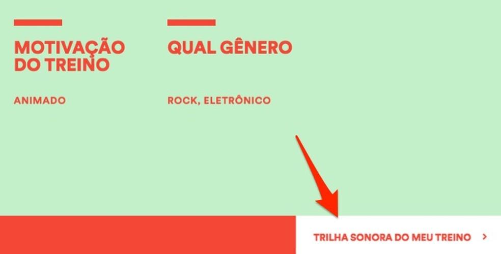Ação para iniciar a criação de uma playlist personalizada para malhar no Spotify — Foto: Reprodução/Marvin Costa