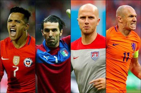 Alexis Sánchez (CHI), Gianluigi Buffon (ITA), Michael Bradley (EUA) e Arjen Robben (HOL) (Foto: Getty Images)